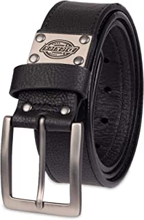 Dickies Men's Leather Classic Casual Belt with Plaque
