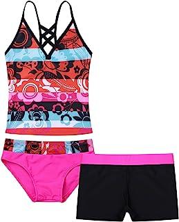 Mufeng Kids Girls 3 Piece Swimsuit Swimwear V Neck Tank Top with Bottom Shorts Floral Print Bikini Tankinis Set