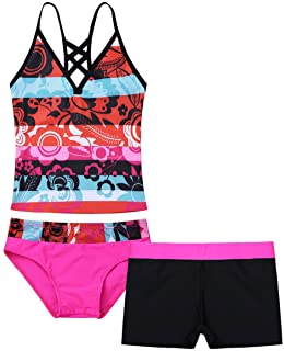 Oyolan 3PCS Girls Swimsuit Swimwear Swimming Costume Floral Printed Tops with Bottoms Shorts Set Bathing Suit Beachwear