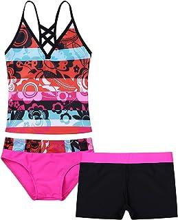 inlzdz Tankini Bikini Traje de baño de 3 piezas para niñas con escritos de natación cortos trajes de baño de 4 a 16 años