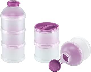 NUK 10256328 - Dosificador de leche en polvo (3 compartimentos, sin BPA), morado y blanco translúcido
