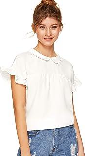 SheIn Women`s Cute Striped Peter Pan Collar Short Sleeve Babydoll Blouse Top