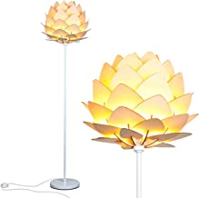 Brightech Artichoke LED Floor Lamp- Unique Contemporary Standing Light for Living Room, Bedrooms- Modern Multi-Panel Style Wooden Shade – Tall Pole Uplight Lamp
