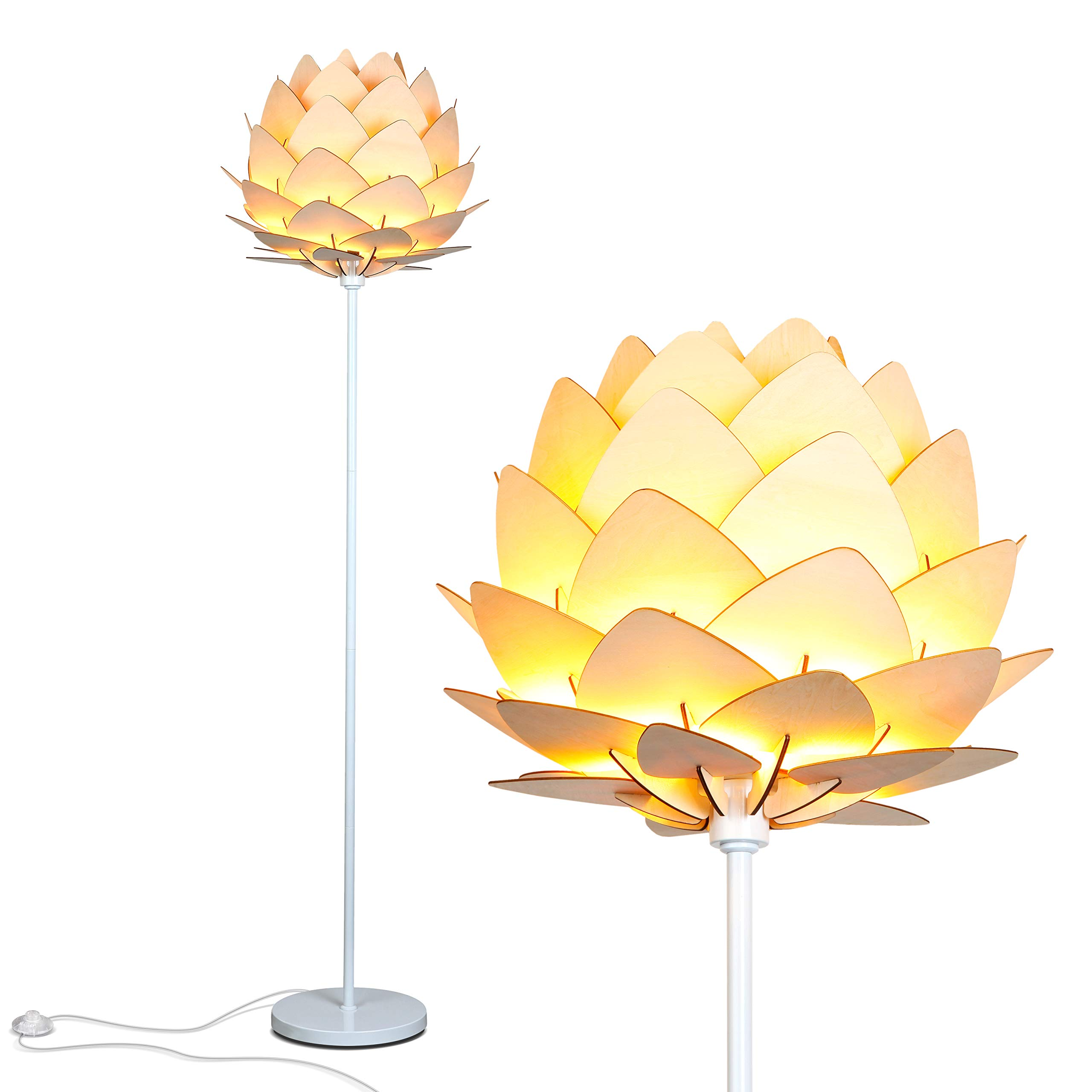 Amazon Com Brightech Artichoke Floor Lamp Unique Modern Bohemian Boho Standing Light For Trendy Vintage Living Rooms Bedrooms Modern Multi Panel Wooden Shade Tall Pole Uplight Lamp Home Improvement