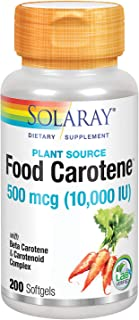 Solaray Food Carotene, Vitamin A 10000 IU | Healthy Skin, Eyes, Antioxidant & Immune Support (100 CT)