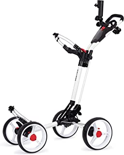 Founders Club Deluxe 4 Wheel Qwik Fold Golf Push Pull Cart with Free Umbrella Holder