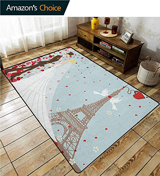 YucouHome Wedding Striped Area Rug Under Table French Couple Hand Drawn Paris Eiffel Tower Getting Married Hearts Celebration Fashionable High Class Living Bedroom Rugs 2 5 X 9 Blue Red White