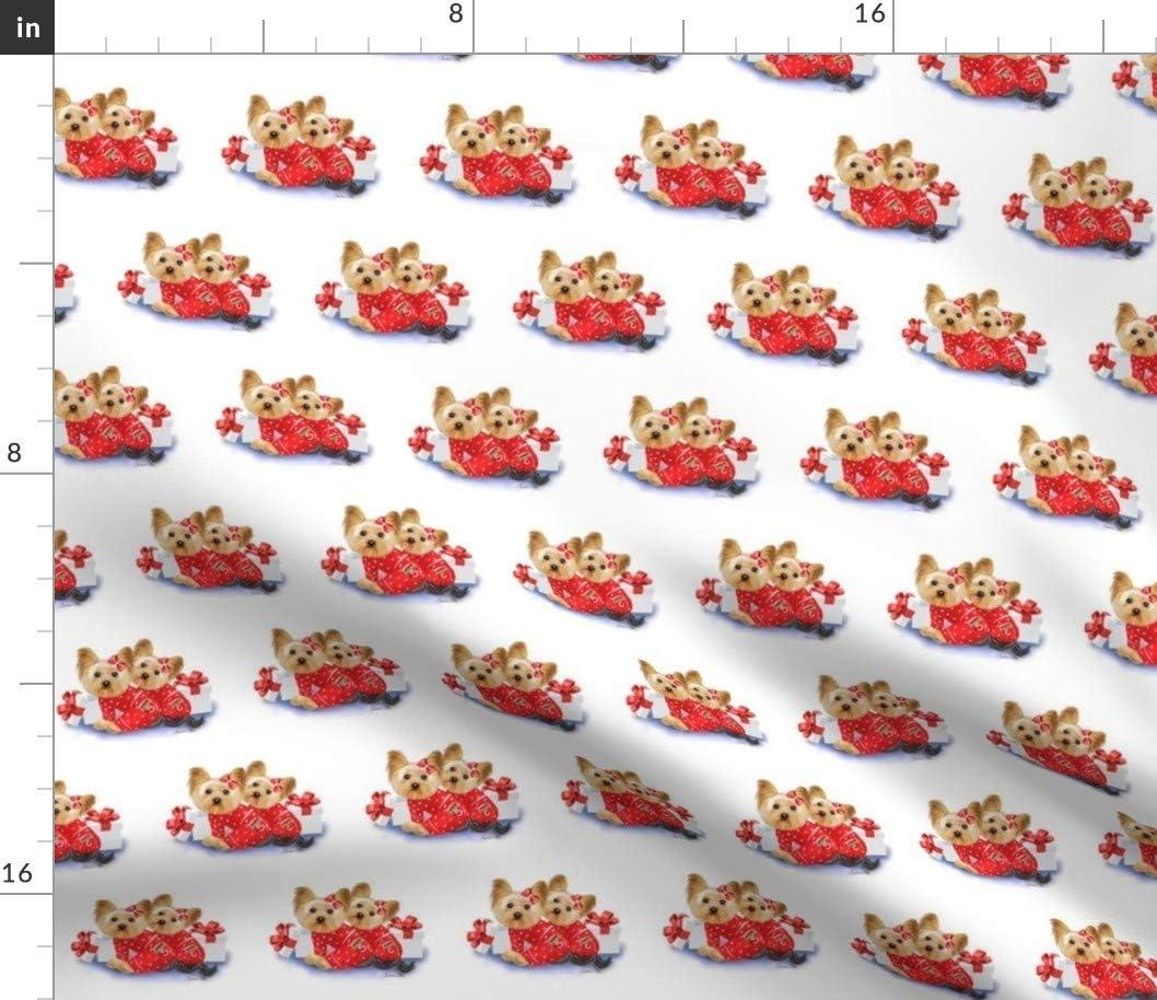 Spoonflower 超人気 毎日激安特売で 営業中です 専門店 Fabric - Yorkie Christmas Holidays on Dogs U Printed