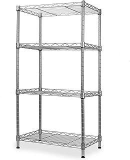 Estantería de 4 niveles   Rack de cocina, baño y garaje   Organizador de estante de pie   Estantes de almacenamiento de metal   Bastidor de organización   M&W