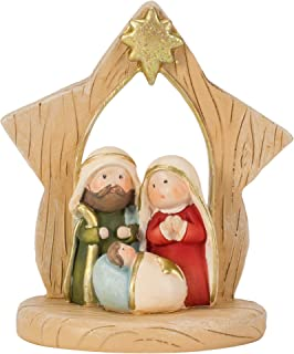 Dicksons One Piece Holy Family Star Natural Brown 3 inch Resin Stone Christmas Figurine