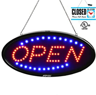 LED Open Sign, AGPtek 19x10inch LED Business Open Sign Advertisement Board Electric Display Sign, Two Modes Flashing & Steady Light, for Business, Walls, Window, Shop, bar, Hotel,with Open/Close Sign