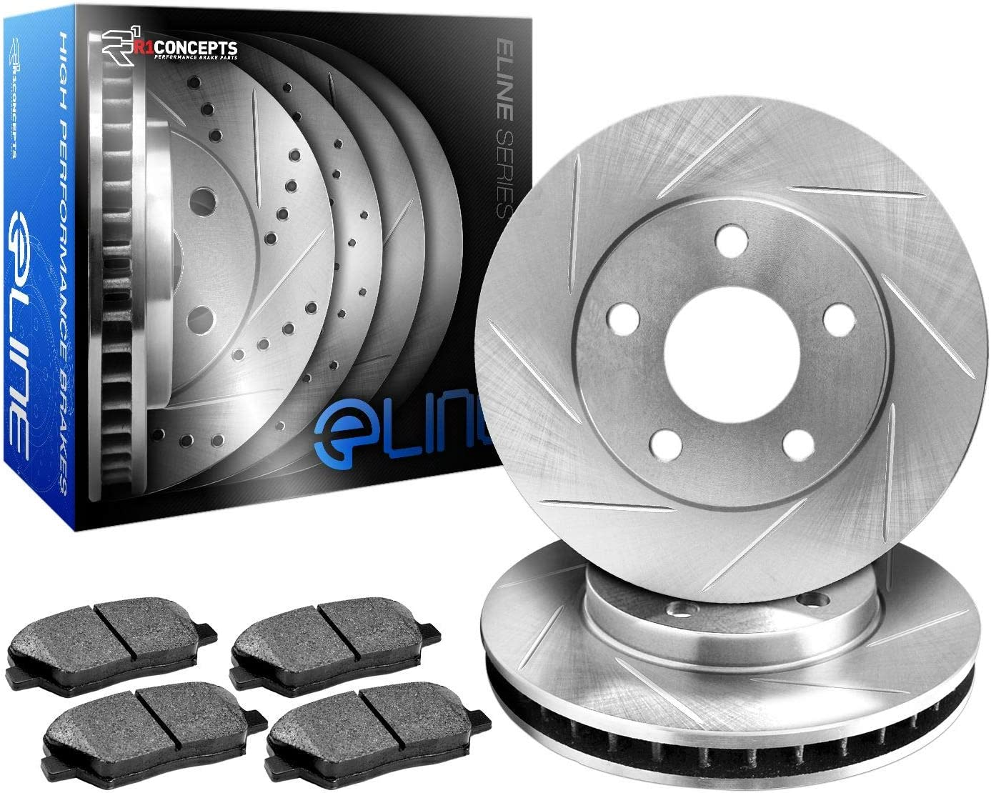 R1 Concepts KES11120 overseas Lowest price challenge Eline Series Pad Rotors Ceramic Slotted And