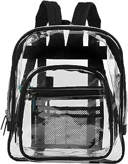 QTKJ Waterproof Large Black Transparent Clear Backpack, PVC Summer School Bag for Adult Kids Students