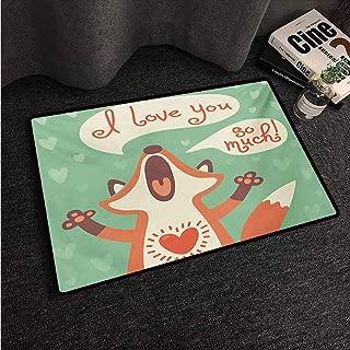 HCCJLCKS Outdoor Doormat Lifestyle I Love You So Much Fox Humor Romance Birthday Valentines Celebration Print Machine wash/Non-Slip W35 xL59 Mint Green Ginger