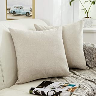 MERNETTE Pack of 2, Thick Chenille Decorative Square Throw Pillow Cover Cushion Covers Pillowcase, Home Decor Decorations for Sofa Couch Bed Chair 22x22 Inch/55x55 cm (Cream)