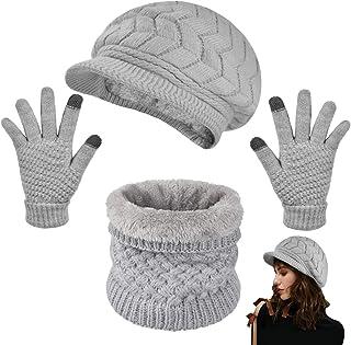 heekpek Invierno Gorras Bufanda y Guantes Mujer Moda Calentar Sombreros Gorras de Punto Forro de Lana Guantes Táctiles de ...