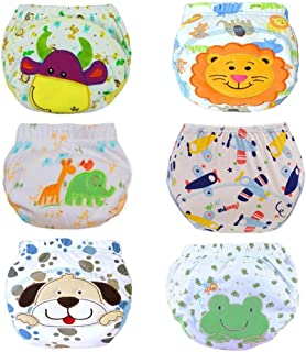 HaimoBurg 6 Pack Baby Toddler Girls Potty Training Pants Reusable Underwears Diapers (Boy,  12-24 Months)