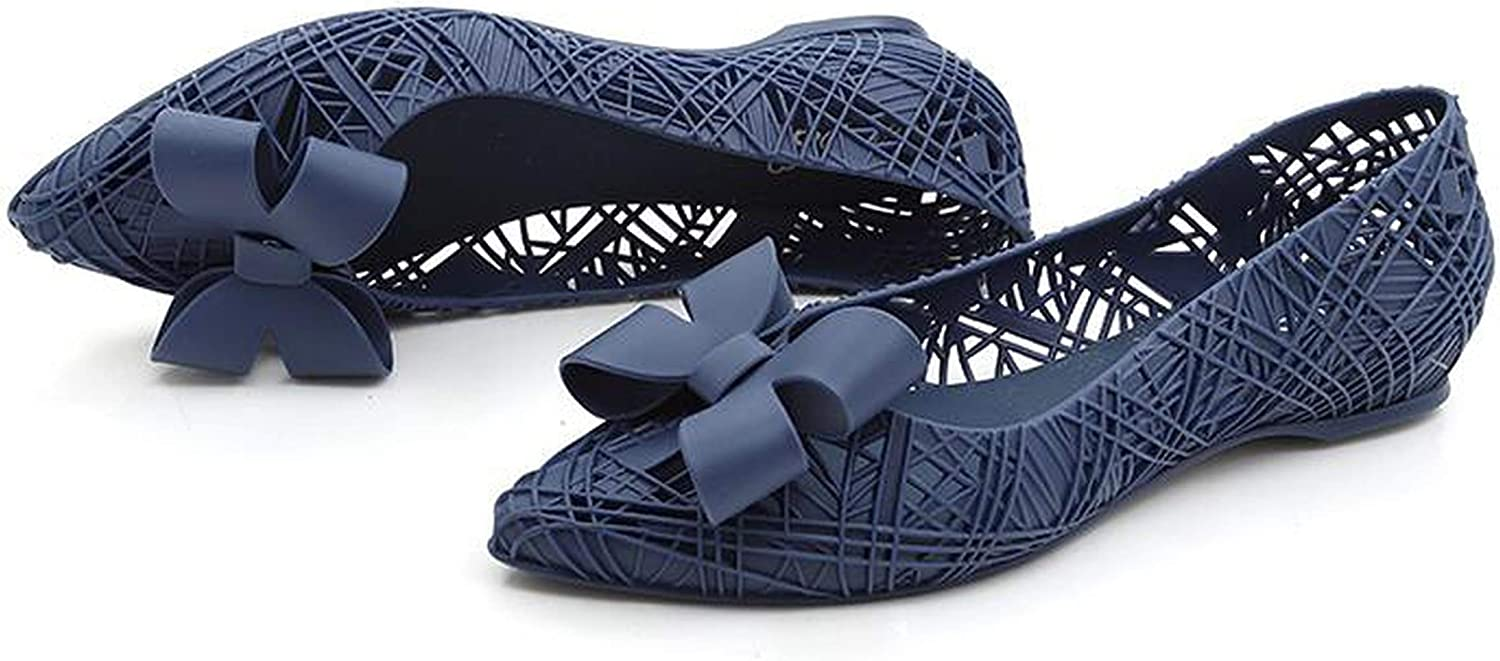 Flats Women Summer Rain shoes Pointed Toe Breathable Flat Heel Beach Sand shoes Hollow Out Sandals,bluee,6,5
