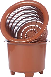 Flower Orchid Plant Mesh Net Pots Double Round Root Controlling Patent Technology,Excellent Drainage,Good Air Movement (Brown)