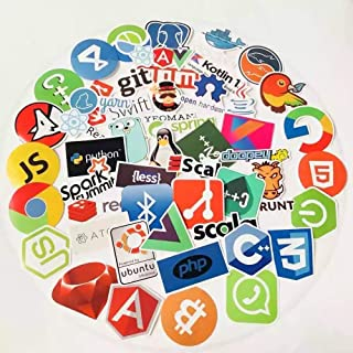 Cool Programming Stickers 50pcs Random Style Laptop Stickers for Programmers Java Software Developers, Coders, Engineers, Hackers and Languages Front-end, Back-end Waterproof Vinyl Colorful Stickers