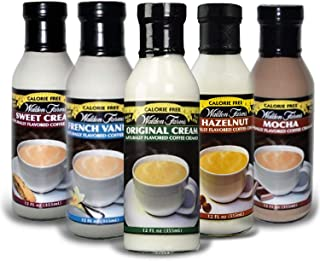 Walden Farms Sweet, Original, Mocha, French Vanilla, and Hazelnut Coffee Creamers 5 Variety Pack