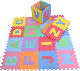 Alfombra rompecabezas de Goma Eva con de 26 letras del alfabeto de KRAFTZ®; multicolor