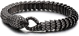 Kalen Men's Gift Black Snake Link Chain Design Stainless Steel Special Bracelet