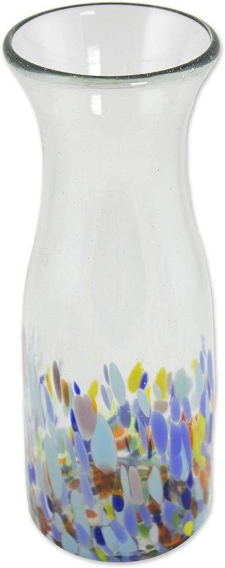 NOVICA 260446 Confetti Festival Blown Glass Carafe Blue Clear Multicolor
