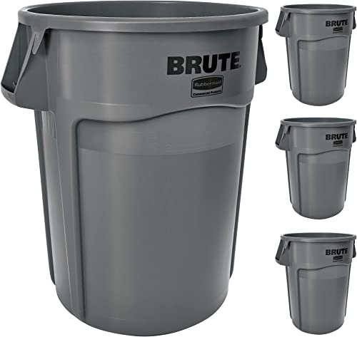 Rubbermaid Commercial Products FG264360GRAY BRUTE Heavy-Duty Trash/Garbage Can, (Pack of 4)