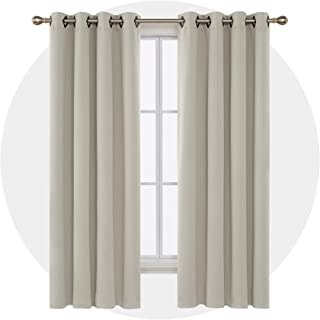 Deconovo Grommet Top Blackout Curtains Thermal Insulated Window Curtains Room Darkening Curtains for Bedroom 52W x 84L Inch Light Beige 2 Panels