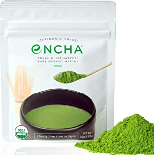 Encha Ceremonial Organic Matcha (USDA Organic Certificate and Antioxidant Content Listed, Premium First Harvest Directly f...