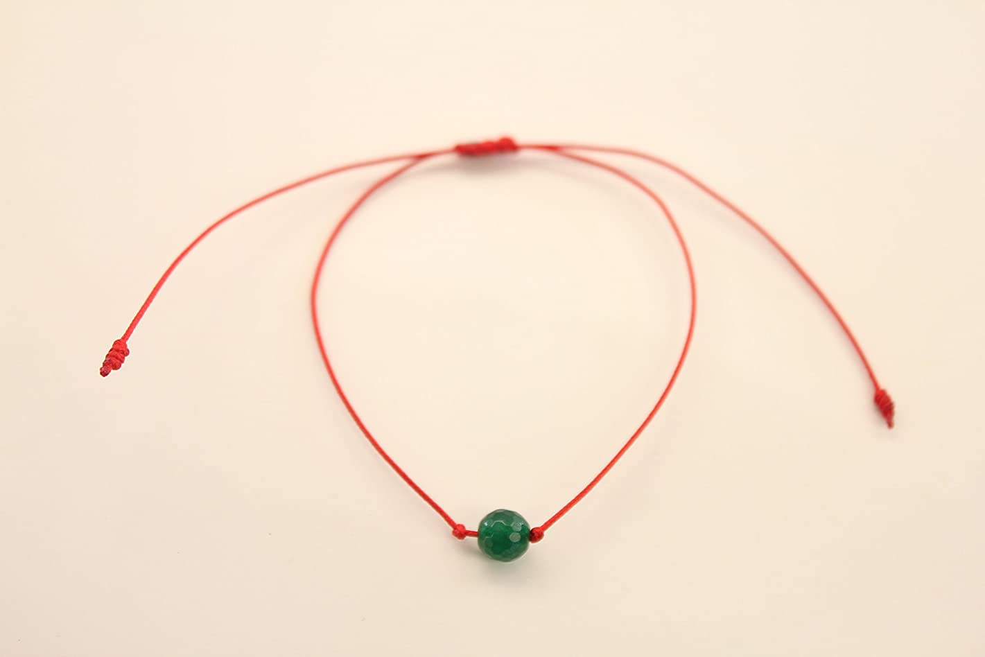 Two Healing and Protective Handles with semiprecious Stones and Quartz of Volcanic Origin | Adjustable Size | for Women and Men | Red Cord. (Spherical Emerald Green Agate)