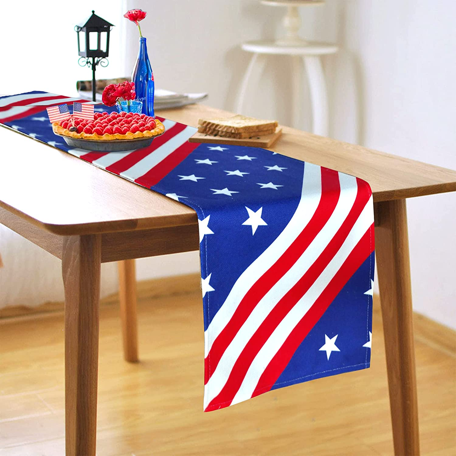 Anms [Alternative dealer] Patriotic Decor Table Runner Ame July of 4th Washington Mall