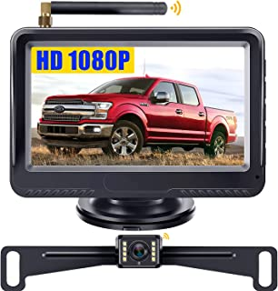 LeeKooLuu F08 Wireless Backup Camera and Monitor System HD 1080P for Cars Trucks ATVs SUVs UTVs IP69 Waterproof 8 LED Light Night Vision Rear/Front View with Grid Lines DIY Setting