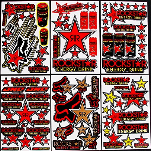 nasty stickers 6 Blatt Selbstklebende AUSSCHNEIDEN Aufkleber rr#Red Vinyl Motocross FÖRDERUNG MX RC GT BMX Bike Scooter + +