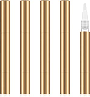 Maxdot 5 Pack 3 ml Twist Pens Empty Nail Oil Pen with Brush Tip, Cosmetic Lip Gloss Container Applicators Eyelash Growth Liquid Tube (Gold)