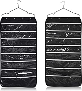 Alezywels Hanging Jewelry Organizer Bag (56-Pockets) Dual-Sided, Thick Oxford Fabric, Zippered Storage, Clear PVC Plastic Windows, Roll-Up, Portable Travel, Rings, Earrings, Necklaces (Black)