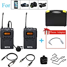BOYA BY-UM48C UHF Omni-Directional Wireless Lavalier Microphone System for Canon EOS T6i C200 Nikon D3300 Sony A9 Camera Smartphone