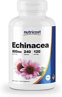 Nutricost Echinacea 800 mg, 240 Capsules - High Quality Veggie Caps, Non GMO, Gluten Free, 120 Servings
