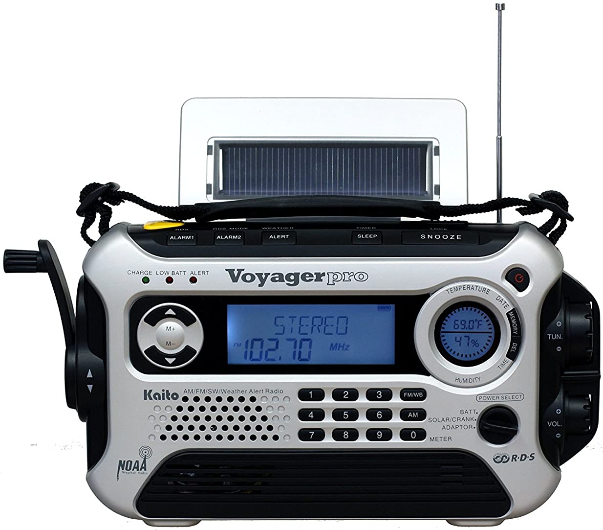 あからさまパラナ川Kaito Voyager Pro KA600 Digital Solar/Dynamo AM/FM/LW/SW & NOAA Weather Emergency Radio with Alert & RDS, Silver by Kaito