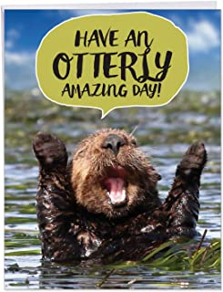 Otterly Awesome Birthday - Cute Happy Birthday Greeting Card with Envelope (Extra Large 8.5 x 11 Inch) - Funny Furry Otter, Animal Notecard - Humorous Birthday Card Stationery J6574ABDG