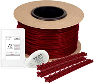 WarmlyYours TCT120-KIT-OT-070 Tempzone Electric Floor Heating Cable Kit with Strips, 70 ft. (17.5 sq. ft.), Touch ScreenThermostat