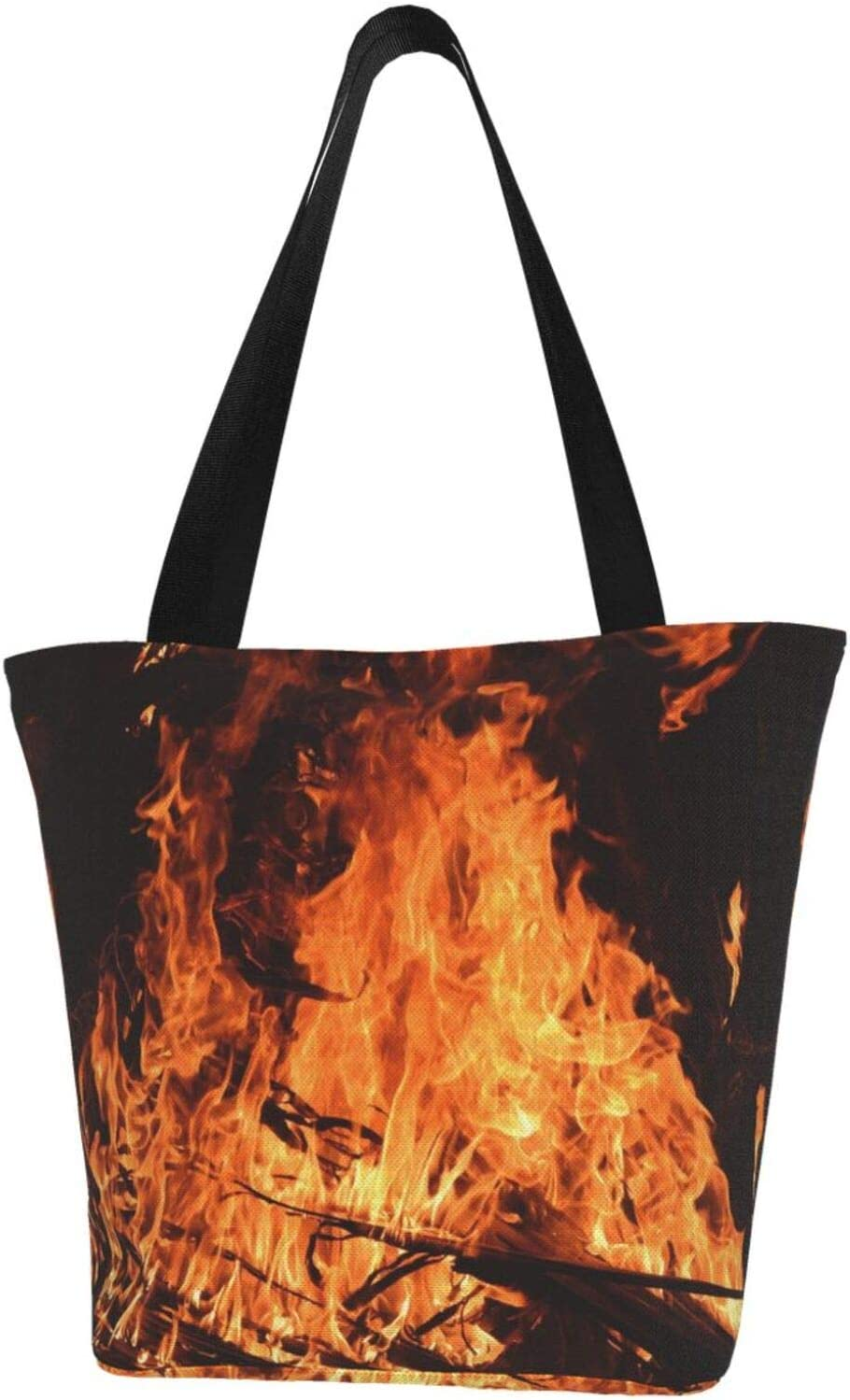 AKLID Financial sales sale Fire Bonfire Flame New arrival Extra Tote Large Resistant Water Canvas
