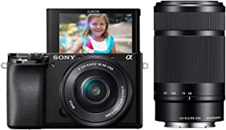Sony Alpha A6100 Mirrorless Camera with 16-50mm and 55-210mm Zoom Lenses, ILCE6100Y/B, Black