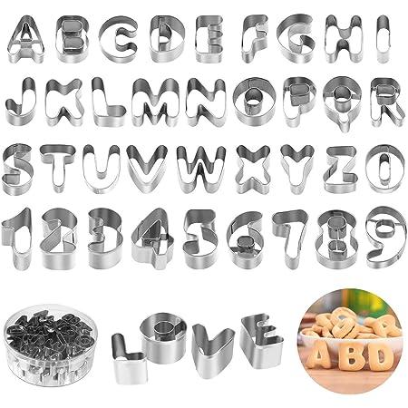 joyoldelf Lot de 36 Emporte Piece Lettre Alphabet, Emporte Piece Patisserie en Acier Inoxydable avec Boîte de Rangement Durable pour Décoration de Gâteau Pâte à Sucre Biscuit Cookie (Argent)