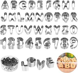 joyoldelf Lot de 36 Emporte Piece Lettre Alphabet, Emporte Piece Patisserie en Acier Inoxydable avec Boîte de Rangement Du...