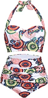 Retro 50s Floral Halter High Waist Swimsuit Bathing Suits Bikini