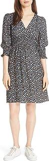 Rebecca Taylor Women's Short Sleeve Zelma Floral Silk Dress, Black Combo, Size 0