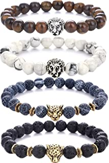 Lava Rock Stone Bead Bracelets Set Beeded Lion Leopard Elastic Bracelet,8MM