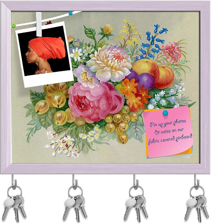 Artzfolio Flowers & Fruit Key Holder Hooks   Notice Pin Board   White Frame 19.7 X 16Inch